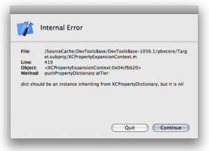 XCode: Internal Error