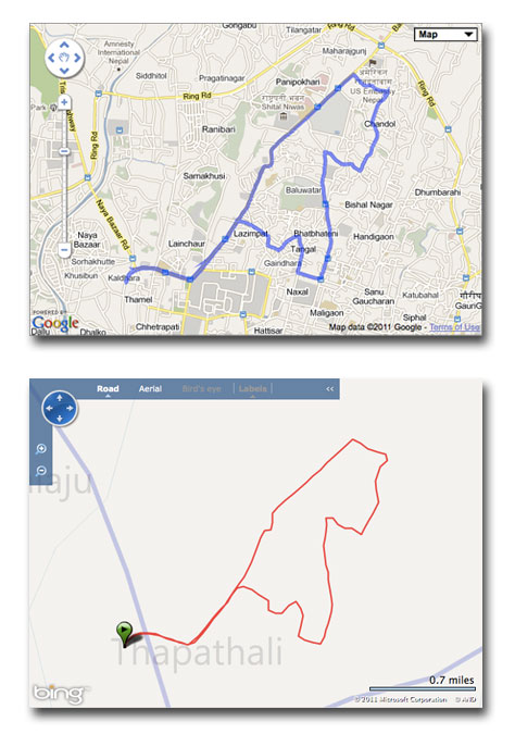 A Google Map compared with a Bing Map