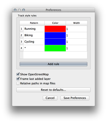 RunParticles preferences dialog